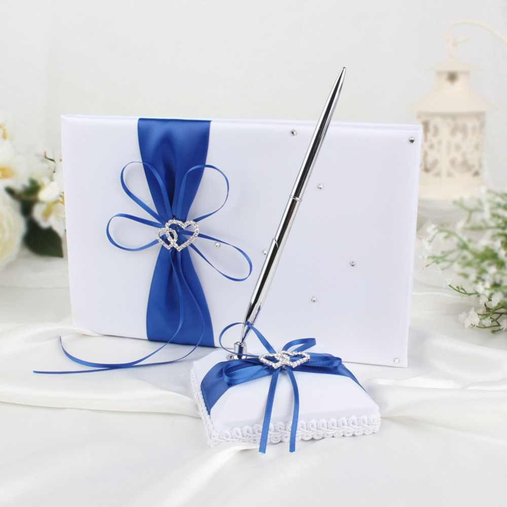 OurWarm Satin Wedding Signature Guest Book 25 x 16cm Double Heart Communion Gifts Souvenirs with Rhinestone Decor High Quality