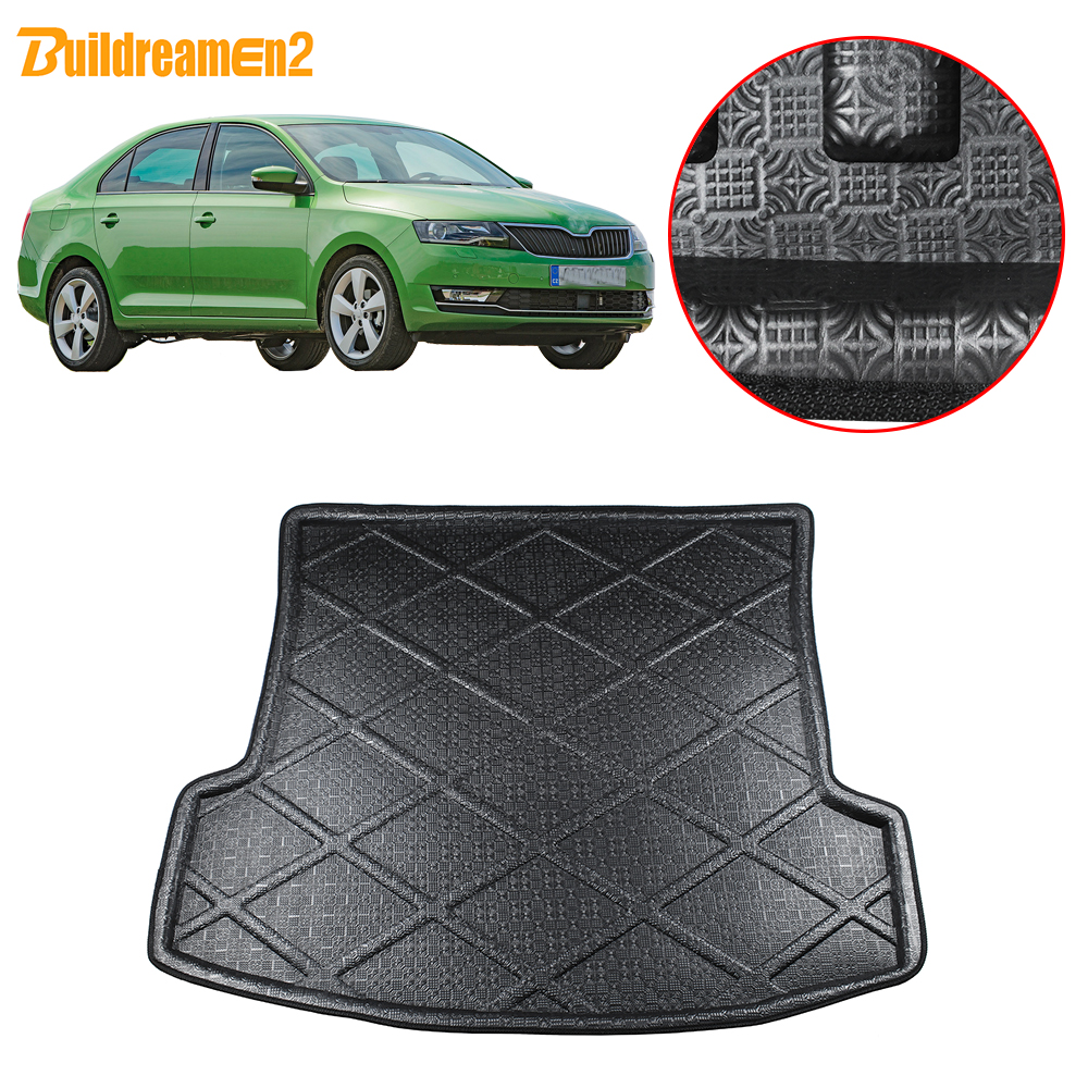 Buildreamen2 For Skoda Rapid Car Tail Trunk Mat Tray Boot Liner Cargo Floor Carpet Protection Pad 2013 2014 2015 2016 2017 2018