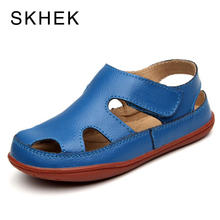 SKHEK Size25-36 Genuine Leather Casual Kids Sandals 2018 Summer Toddler Boys Beach Shoes Flat Little Girls Gladiator