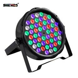 2 unids/lote LED 54x3 W RGBW LED Par plana RGBW Color mezcla DJ Luz de lavado etapa Uplighting KTV disco de DJ DMX512