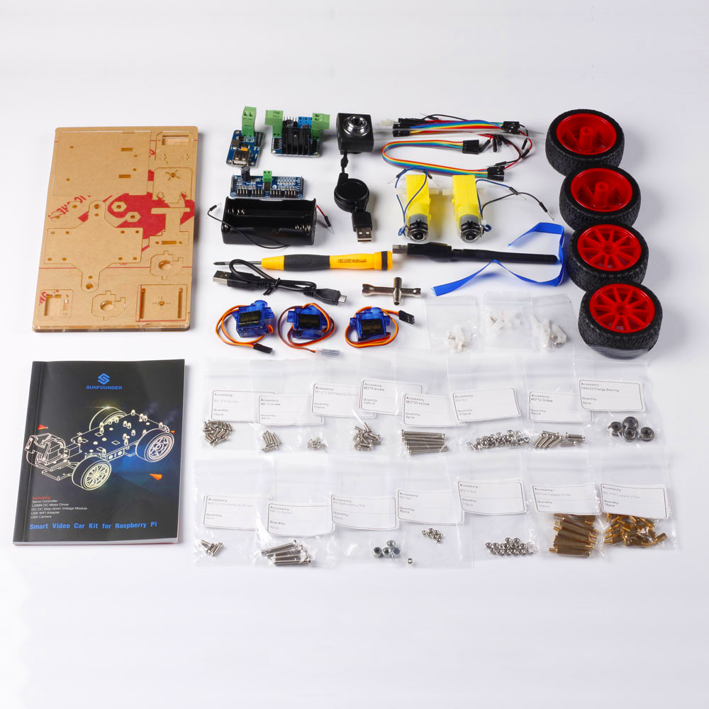 SunFounder inteligente Video coche Kit Raspberry Pi DIY Kit de Robot para niños adultos Compatible con Raspberry Pi Modelo B 3B + 3B 2B - 5