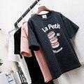 Франции Макарона Печати Каваи Мультфильм майка женщины 2016 Лето Письмо футболки LooseTop & Футболка Femme Camisetas Mujer Verano