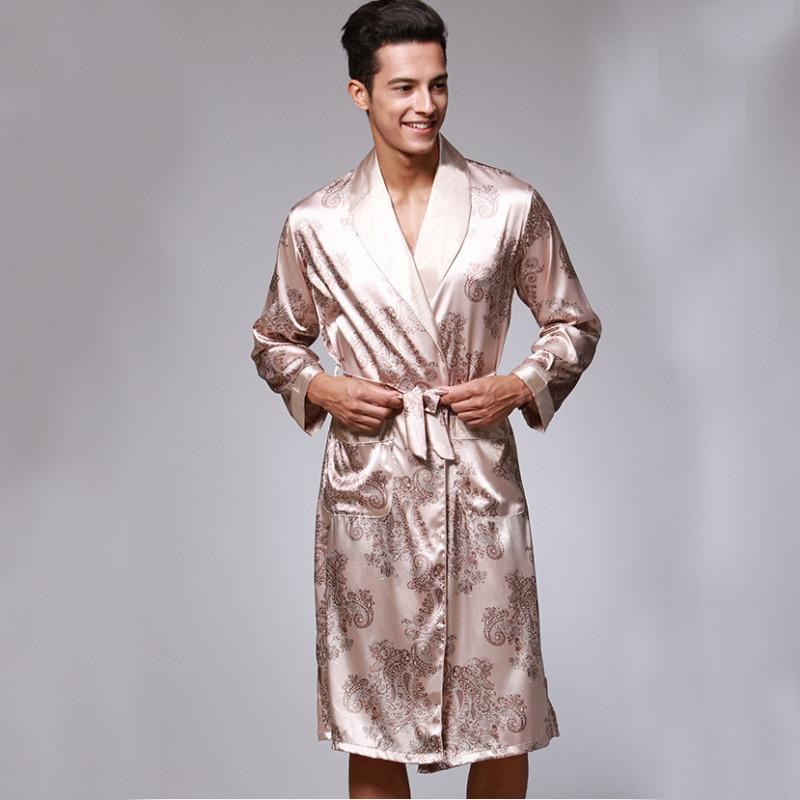 Satin Robe Male Spring Autumn Long Sleeve Sleepwear Bathrobe Dressing Gown  Sexy Silk 438ba5da4