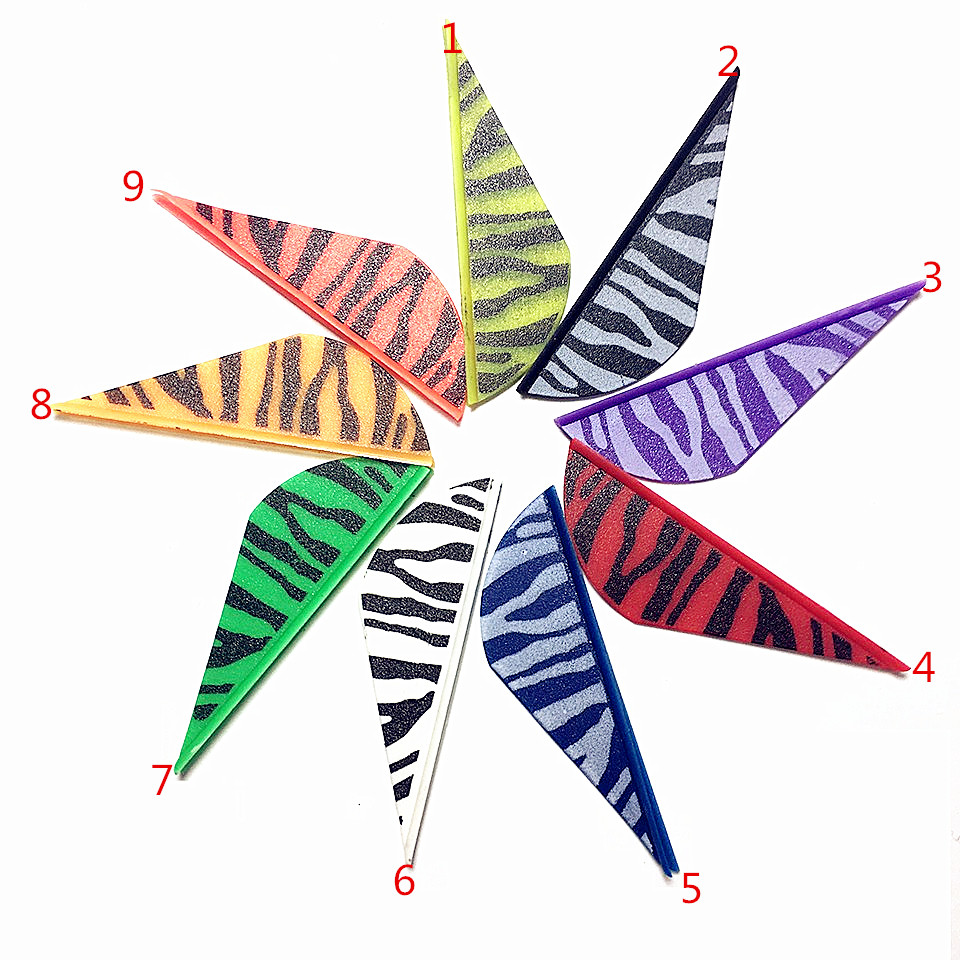 50PCS Zebra Marked Plastic 2-inch Feather Plastic Arrow Feather Sticker For Outdoor Shooting With Traditional Arch Composite Bow