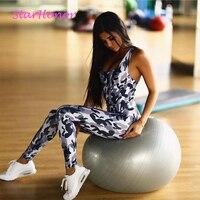 StarHonor Halter Slim Yoga Jumpsuits Set Sport Suit Kit Sleeveless Backless Female Gym Clothes Print Running