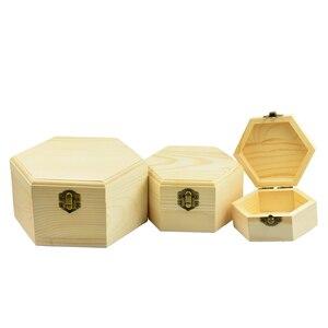 Image 3 - 3 pièces 3 tailles hexagone en bois montre boucles doreilles bijoux trésor boîte de rangement mémorial souvenir conteneur