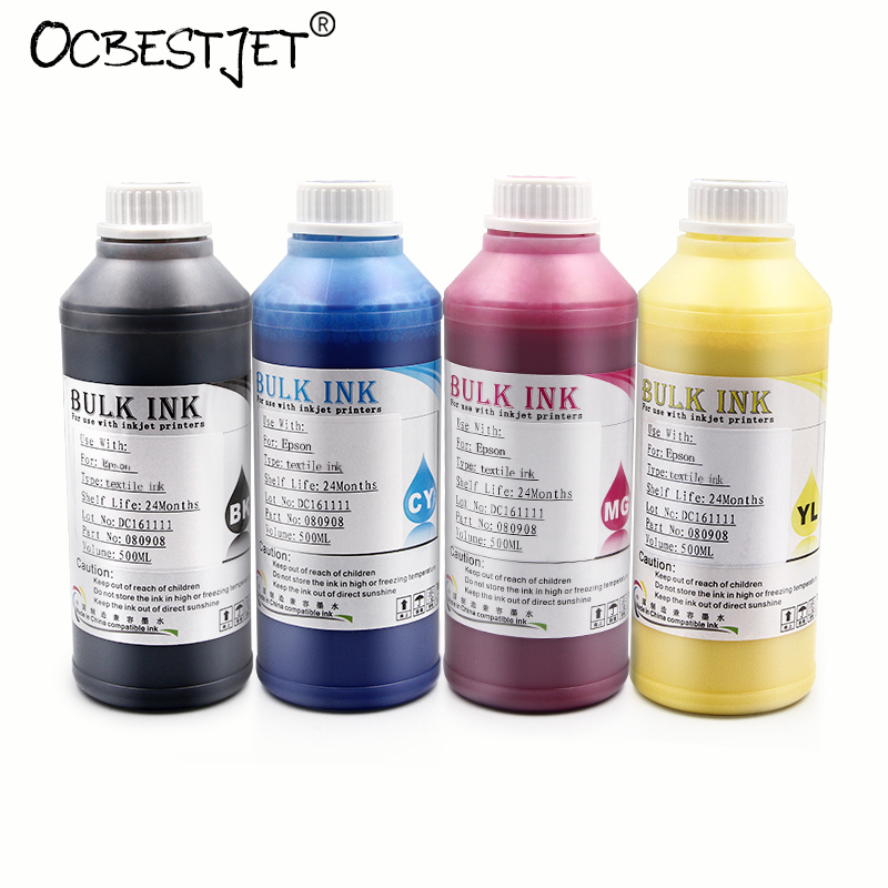 500ML 4 Bottles Digital Textile Ink For Epson R1800 R1900 R2000 R3000 1390 1400 1410 1430 Printer (BK+C+M+Y) 500ml 5bottles set led uv ink for epson 1390 1400 1410 1430 1500w r280 r290 r330 l800 l1800 uv printer ink bk c m y white