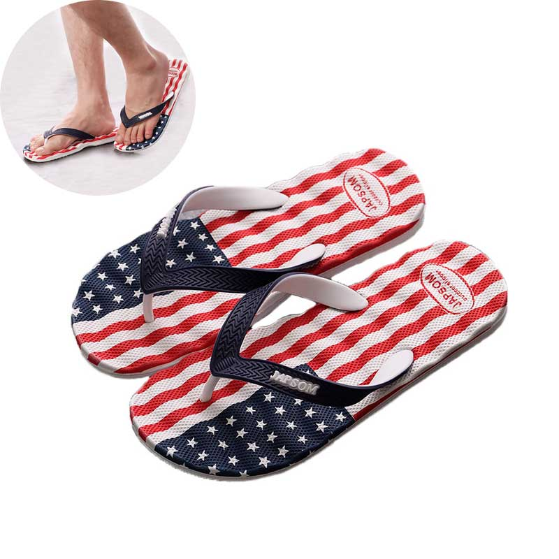 Men Flip Flops Slipper 2019 Summer Shoe Antiskid Slippers Man National Flag Print Foot Thicken Bathroom Beach Sandals Home Shoes