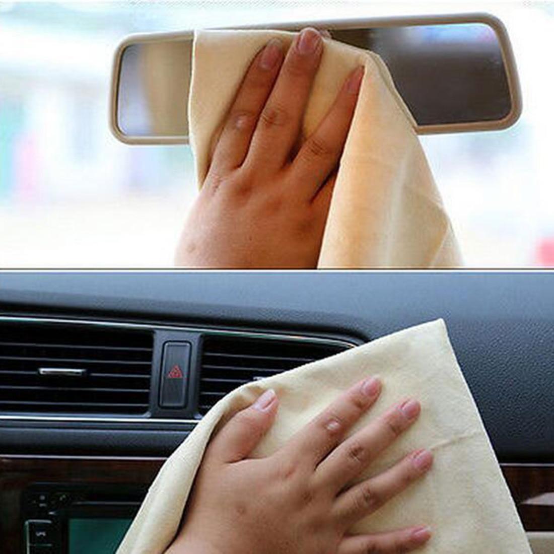 BU-Bauty Auto Cura Naturale di Pelle di Daino Lavaggio Auto Panno di Pulizia del Cuoio Genuino della Pelle Scamosciata Assorbente Asciugamano Asciutto Rapido Streak