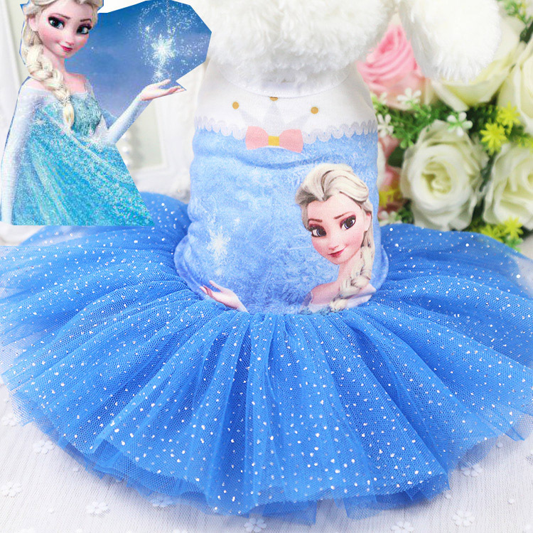 kirt coat Spring and summer new dog Chihuahua Yorkshire dress Frozen cute dog dress pet cat clothes s
