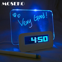 2016 Hot Sale LED Fluorescent Message Board Digital Alarm Clock Calendar Night Light Modem LED Alarm