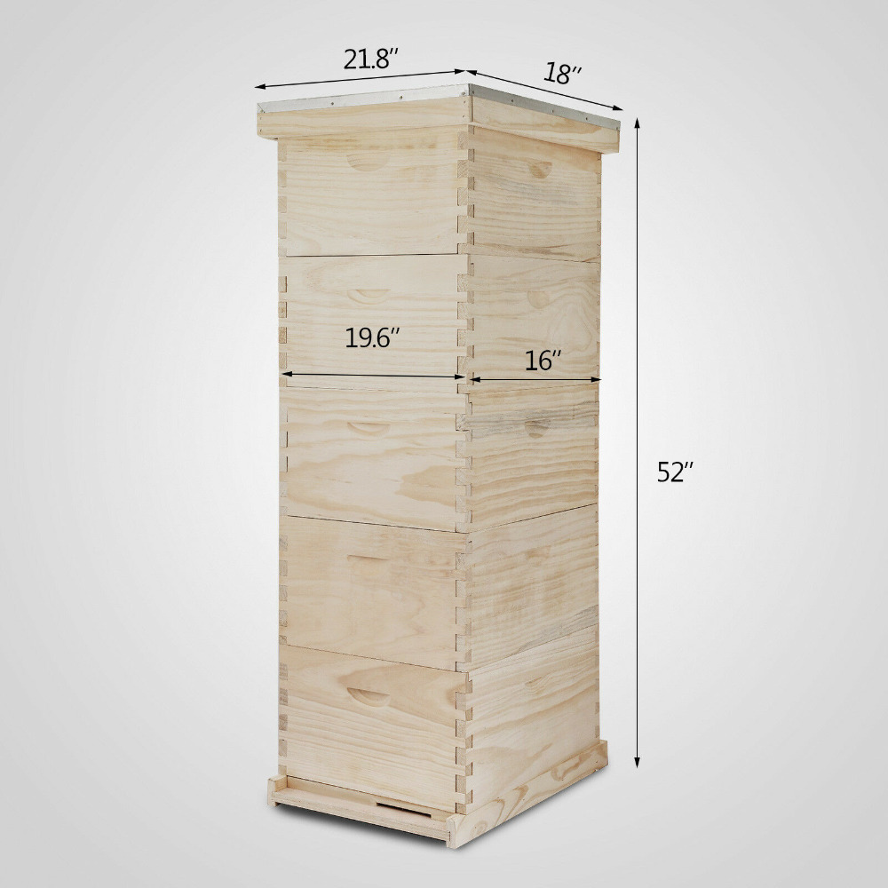 Langstroth BeeHive 10-Frame 1 Deep 4 Medium BOX (No Frames Or Foundations)