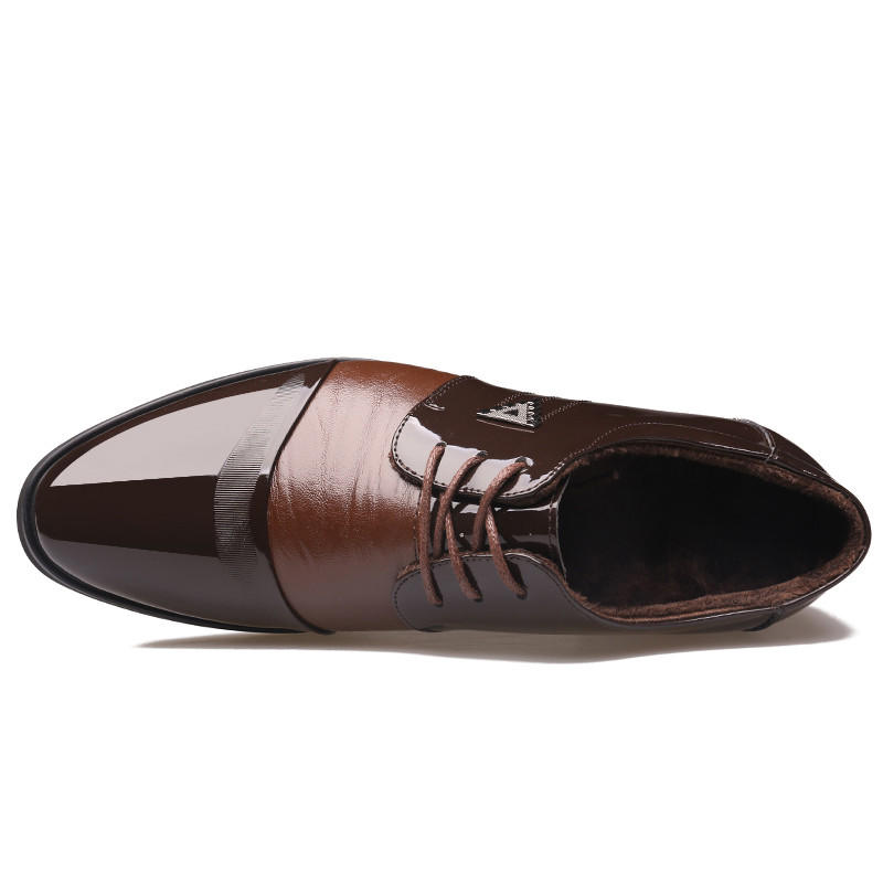Noir Cuir Peluche Hiver Pointu Chaud Richelieus Chaussures Bout Hommes brown Black Robe En Brun HqPUqz