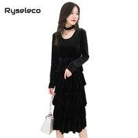 Brand New Women Little Black Dress Elegant Layers Ruffles Long Sleeve Elastic Waist Halter Neck Midi Flare Velour Velvet Dresses