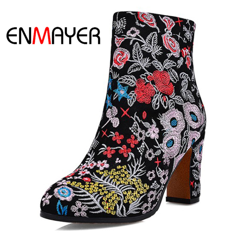 ENMAYER Fashion Enthic Styles Winter Warm Women Boots Square High Heel Boots Embroidery Shoes Round Toe Leather Shoes for Woman