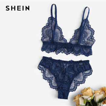 SHEIN Sexy Navy Trim Lace Unlined lingerie Set Hot Women V Neck Sleeveless Wireless Bralettes and Briefs Intimate Lingerie Sets 5