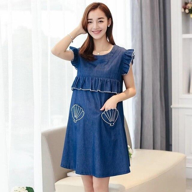 98bc69fe79180 Afeitony Summer M-XL Denim Maternity Dresses Clothe For Pregnancy clothes  for Pregnant Women nursing dress Breastfeeding Dresses
