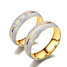 Кольца MGFam для влюбленных, титановая сталь 316L, ювелирные изделия, модные, с кристаллами, желтое золото, матовый узор, без изменения цвета
