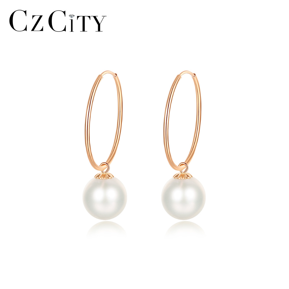 PAG MAG Exquisite 18K Yellow Gold Pearl Hoop Earrings for Women Round Ball Natural Pearl Engagement