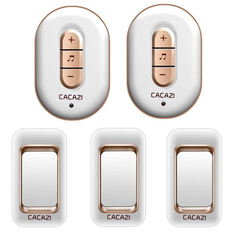 CACAZI wireless doorbell 300M remote 3 waterproof IP44 transmitters+2 AC plug-in receivers door bell 48 chime 6 volume door ring cacazi a9 3 ac 75 250v wireless doorbell 1 waterproof button 3 receivers 52 ringtones 4 volume 300m remote electronic doorbell