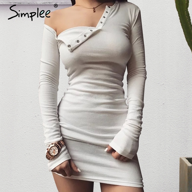Simplee Autumn one shoulder bodycon sexy dress Women long sleeve elastic white dresses Winter evening club black short dress