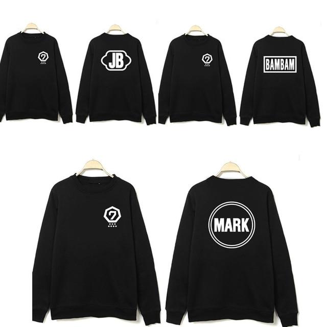 2016 Nuevo popular Kpop Corea Kpop grupo GOT7 jerseys GOT7 unisex negro  chaqueta de lana con 332dd1b7ba5