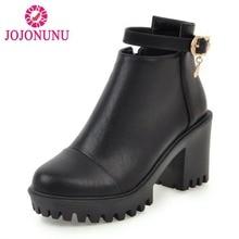 Купить с кэшбэком JOJONUNU Women Winter Ankle Boots Fashion Buckle Zipper Fur Shoes Women Keep Warm High Heel Boots Platform Shoes Size 34-43