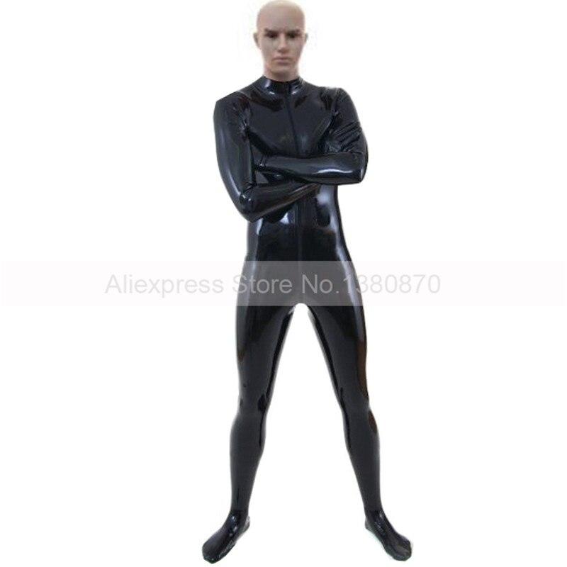 Черный латекс костюм комбинезон Сексуальная Зентаи комбинезон на молнии спереди Резина боди ноги Носки Перчатки attatched Большие размеры S LCM079