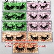ขายส่งฟรี UPS 50 คู่ Mikiwi ขนตา 3D 5D Mink Lashes Handmade Lashes Dramatic 80 รูปแบบที่กำหนดเองโลโก้ป้าย lashes
