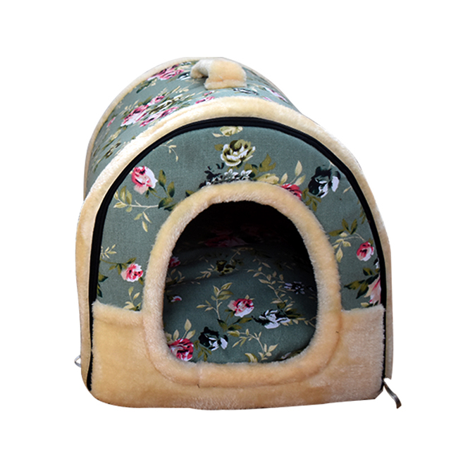 Portable Pet Dog Cat House Foldable Blue Flower  Pet  House Plush Cloth Cute Kennel For Universal Dog cat  Pet Bed 3 Size