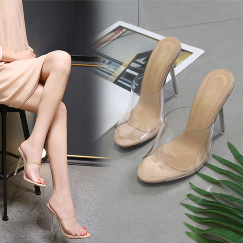New Women Slippers 2018 Fashion High Heeled 11.5CM Women Casual Shoes Mules PVC Transparent Shoes Clear Open Toe Plus Size 34-40