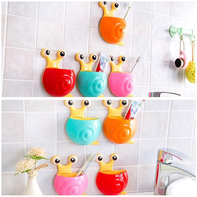 Image 5 - 4pcs Creative Toothpaste Holder Cute Snail Kids Wall Suction Cup Toothbrush Container Travel Bathroom Organizer(Random Color)-in Toothbrush & Toothpaste Holders from Home & Garden