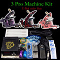 Solong Tattoo Kit de Tatuaje 3 Pro Machine Gun Power Supply Apretón de Las Agujas Consejo ink Cup (U-pick color máquina)