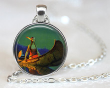 (1 Piece/Lot) 2016 Native American Indian Maiden in Canoe Pendant Necklace American Indian Jewellery Glass Dome Colar