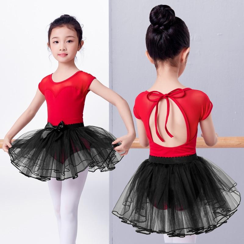 626ef6b1a Girls Kids Children Pink Ballet Dance Suit Mesh Splice Short Sleeve ...