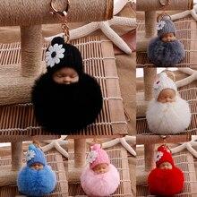 Детская кукла игрушка Прямая поставка Милая Спящая кукла брелок для женщин сумка кольцо для ключей с игрушкой пушистый помпон искусственный мех плюшевые брелки