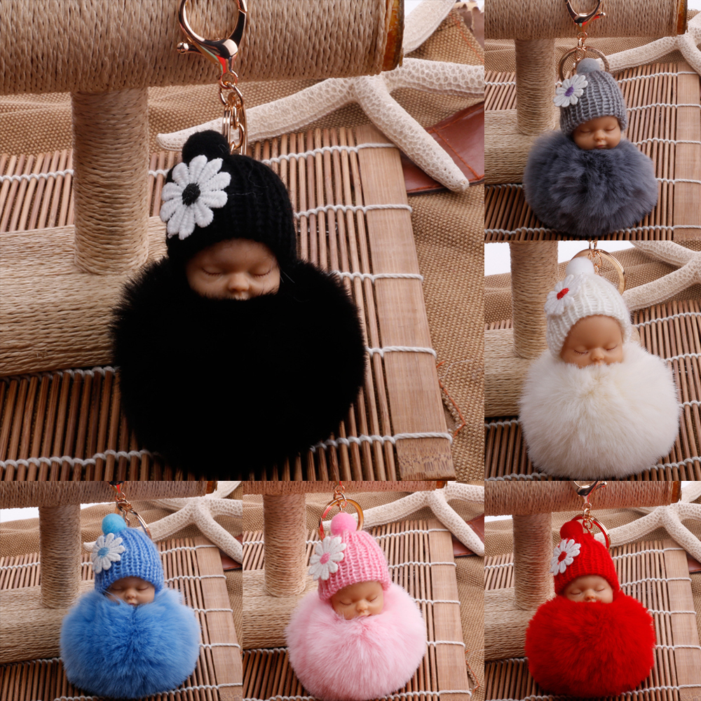 Baby Doll Toy DropshipCute Sleeping Baby Doll Key Chains For Women Bag Toy Key Ring Fluffy Pom Pom Faux Fur Plush Keychains