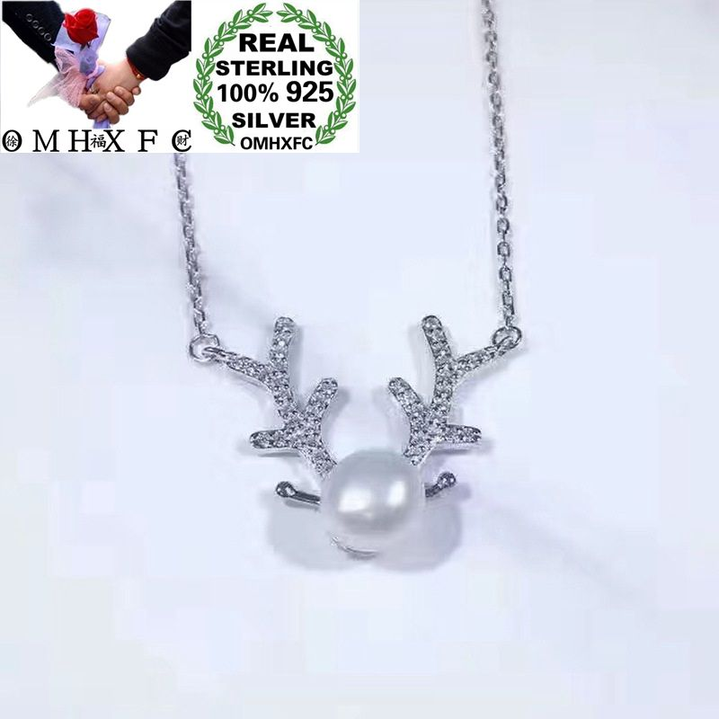 OMHXFC Wholesale European Fashion Woman Party Birthday Gift Antler Pearl Zircon 100% S925 Sterling Silver Pendant Necklace CH46OMHXFC Wholesale European Fashion Woman Party Birthday Gift Antler Pearl Zircon 100% S925 Sterling Silver Pendant Necklace CH46