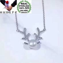 OMHXFC Wholesale European Fashion Woman Party Birthday Gift Antler Pearl Zircon 100% S925 Sterling Silver Pendant Necklace CH46(China)