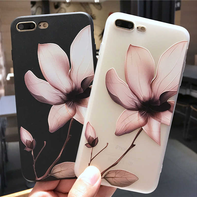 Lotus Bloem Case Voor iPhone 8 Plus X XS Max XR 3D Relief Rose Bloemen Phone Case Voor iPhone X 8 7 6 6 S Plus 5 5 S SE TPU Cover