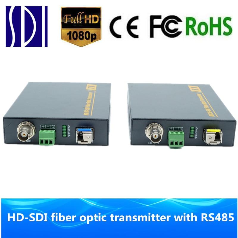 HD SDI fiber optic extender 10km media converter Fiber to 3G SDI video audio Transmitter & Receiver with RS485 data over fiber