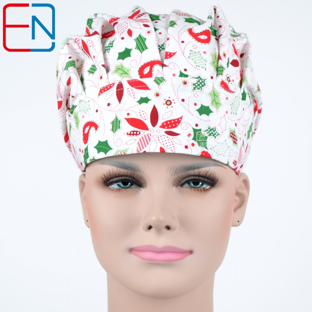 Hennar Surgical Caps Hospital Medical Work Caps Printing Doctor Nurse Anatomie 100% Cotton Scrub Caps Tieback Straps With Masks