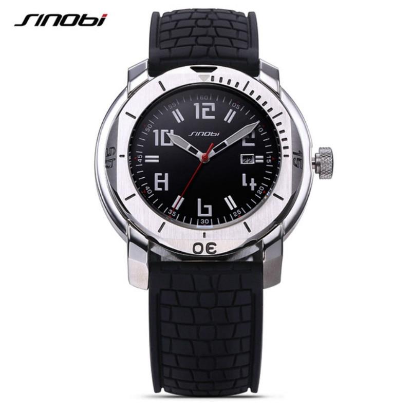 2016 Fashion Luxury Brand SINOBI Watch Men Sports Military Analog Quartz Silicone Watches Waterproof Calendar Wrist Mens Watches sinobi 1850 men alloy analog quartz watch