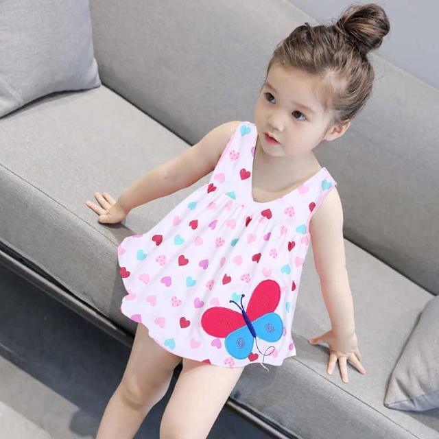 2d5f57c7ea3e Spring Summer Infant Baby Girls Tutu Dress Kids Sleeveless Cotton Colorful  Print Cute Dress Clothes for