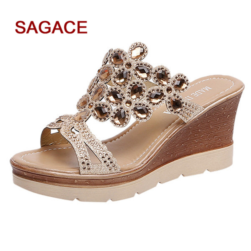 SAGACE Wedges Shoes Sandals Rhinestone Slip-On Peep-Toe Summer Women Breathable Mujer