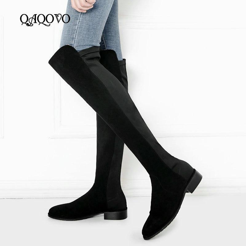Flat Heel Knee High Boots Women Soft