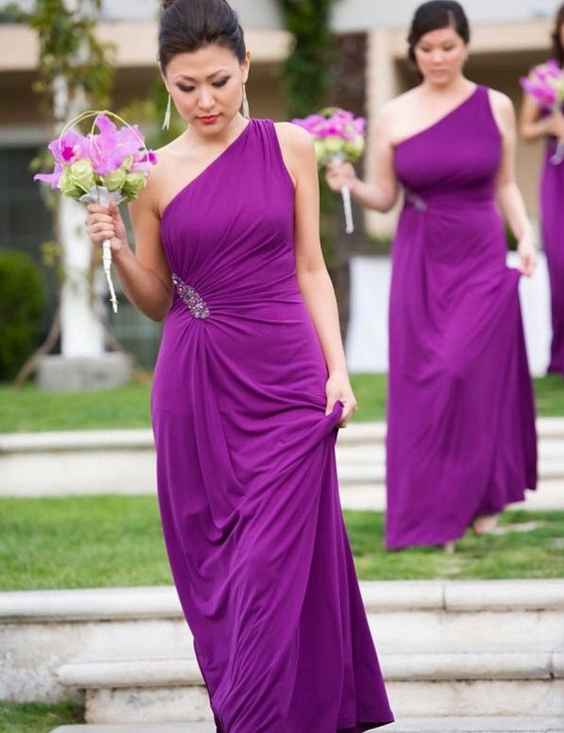 Hot crystal one shoulder purple bridesmaid gown bluepeachivory hot crystal one shoulder purple bridesmaid gown bluepeachivorychampagnesilvercoral chiffon bridesmaid dresses fast shipping in bridesmaid dresses from ombrellifo Images