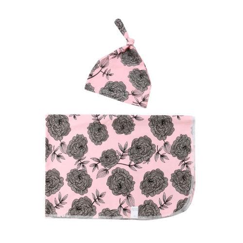 Infant Toddler Baby Boy Girl Floral Swaddle Wrap Soft Newborn Pink Blanket Hat 2pcs Swaddling Soft Warm