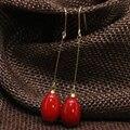 Женские длинные серьги-капельки 9*13, элегантные красные серьги с краской для выпечки, новые модные ювелирные украшения B1797