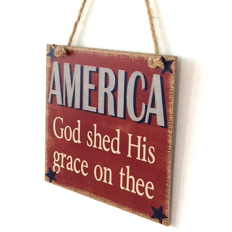 Image 2 - Rustic Wooden Hanging Plaque Sign Board America God Shed His Grace On Thee Room Wall Door Home Decoration Gift-in Plaques & Signs from Home & Garden